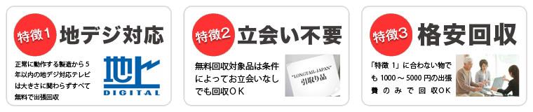 立川市・国分寺市・国立市・小金井市で当社が液晶テレビを無料回収する3つの特徴